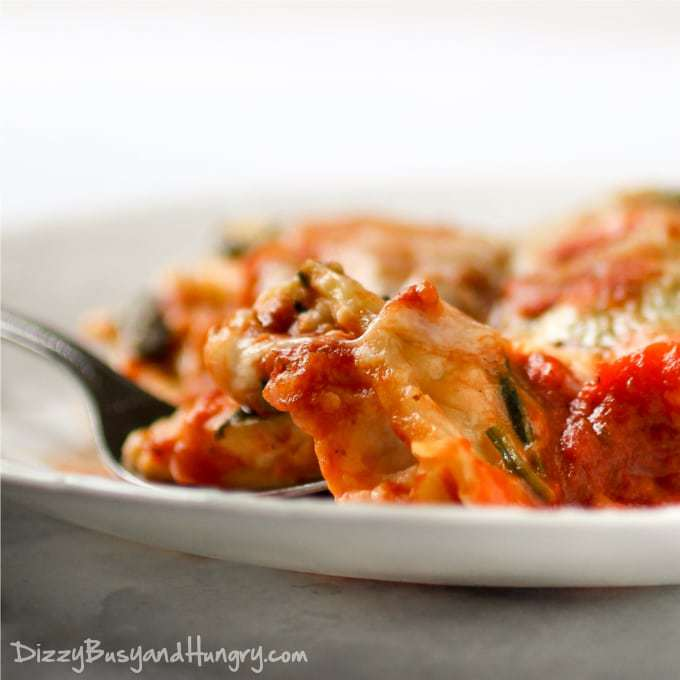 Ravioli Spinach Bake | DizzyBusyandHungry.com - Easy alternative to lasagna and a great meatless dinner the whole family will love!