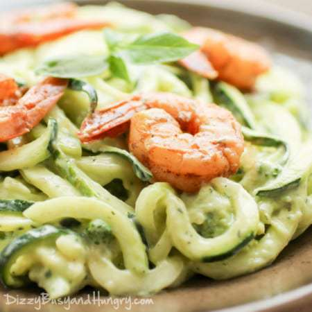 Creamy Avocado Zoodles with Chipotle Lime Shrimp
