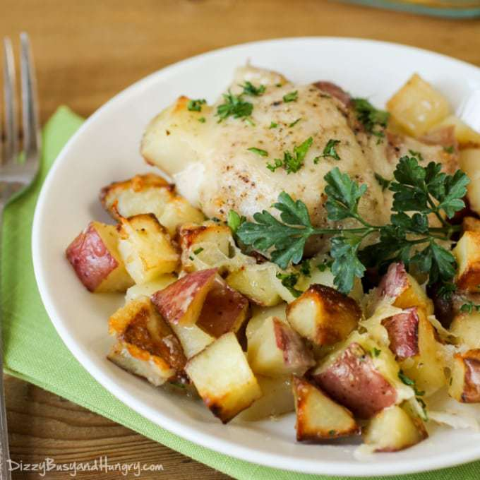 Chicken potato bake dizzy busy and hungry recipes closeup view of a white plate with chicken potato bake and a garnished with parsley forumfinder Choice Image
