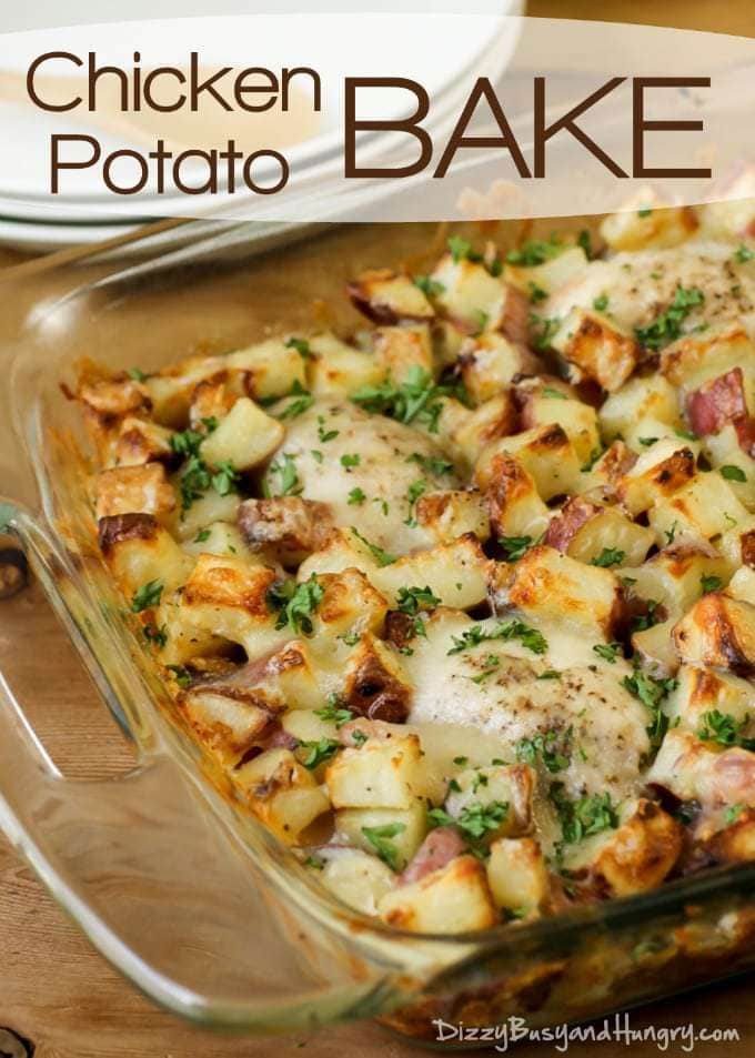 Chicken Potato Bake | DizzyBusyandHungry.com - Potatoes tossed in garlic and olive oil and baked to a golden brown with tender, juicy chicken thighs. A family favorite!