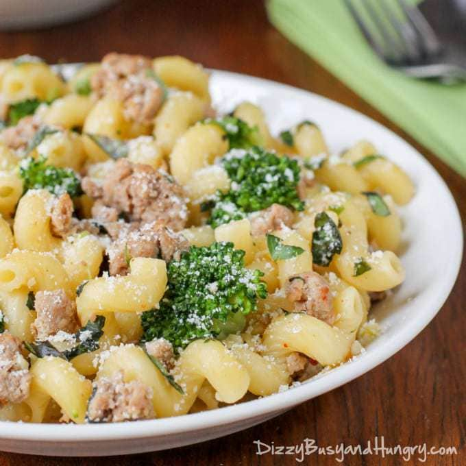 Closeup view of a white plate filled with the easy turkey broccoli pasta recipe