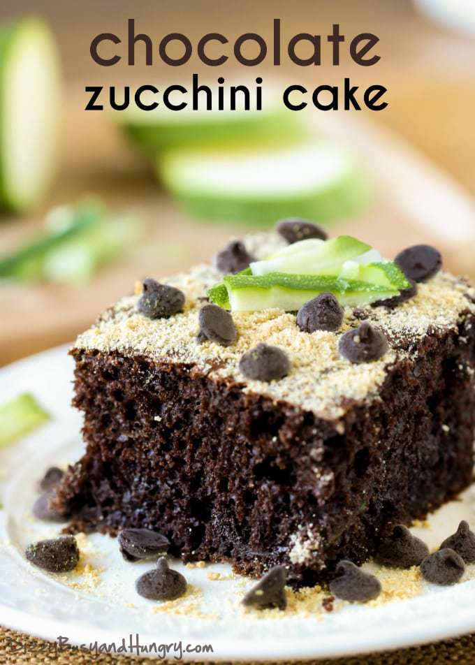 Chocolate Zucchini Cake | DizzyBusyandHungry.com - Super easy zucchini cake made with Greek yogurt for extra moist, chocolatey deliciousness!
