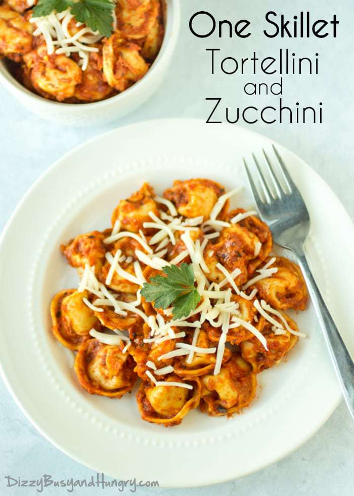 One Skillet Tortellini and Zucchini   DizzyBusyandHungry.com - Quick, nutritious, delicious, and easy to clean up!