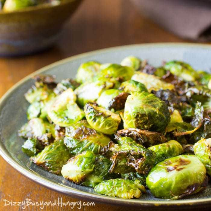 Easy Roasted Brussels Sprouts   DizzyBusyandHungry.com - My kids happily ate these, and then asked for seconds! 'Nuff said!