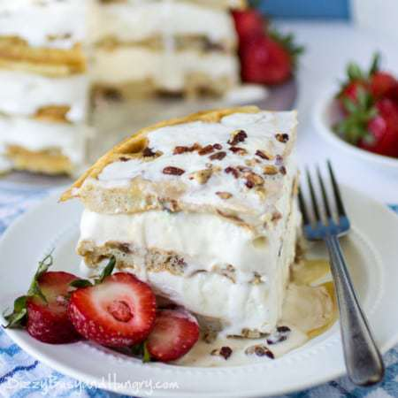 Maple Bacon Waffle Ice Cream Cake #SundaySupper