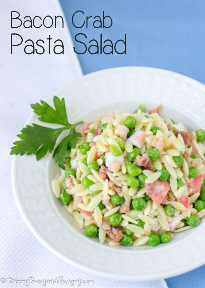 Bacon Crab Pasta Salad | DizzyBusyandHungry.com - Great as a side dish or a light main dish. And so easy peasy to make!