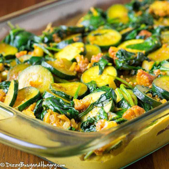 Turmeric Hummus Casserole   DizzyBusyandHungry.com - Creamy, flavorful, and packed with the nutritional and cancer-fighting powers of veggies and turmeric!