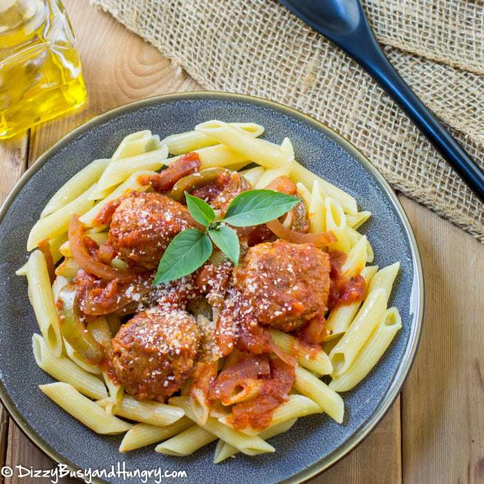 Chicken Cacciatore Meatballs | DizzyBusyandHungry.com - Moist, flavorful meatballs made from ground chicken and nestled among tender green pepper and onion strips.