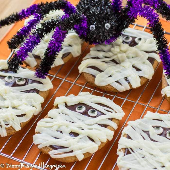Easy Peanut Butter Mummy Cookies | DizzyBusyandHungry.com - So cute and easy! Cookies made with only 3 ingredients and decorated to look like mummies! Happy Halloween!
