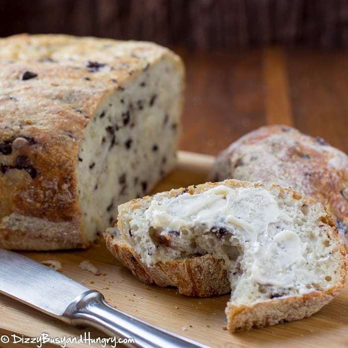 Easy Slow Cooker Olive Parmesan Bread   DizzyBusyandHungry.com - No kneading required! You have to try this delicious and super-easy way to prepare fresh-baked bread!