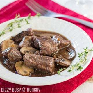 Crock Pot Beef and Mushrooms with Red Wine Sauce