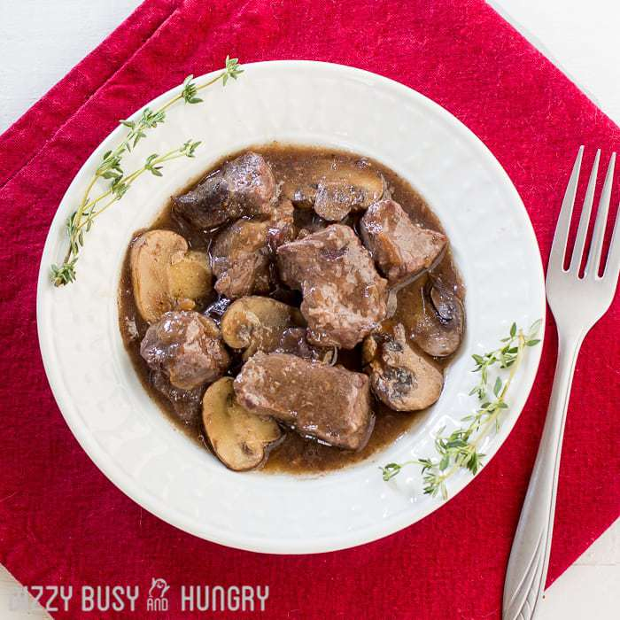 Crock Pot Beef and Mushrooms with Red Wine Sauce | DizzyBusyandHungry.com - Delicious, hearty beef dinner that's a snap to prepare and a family favorite!