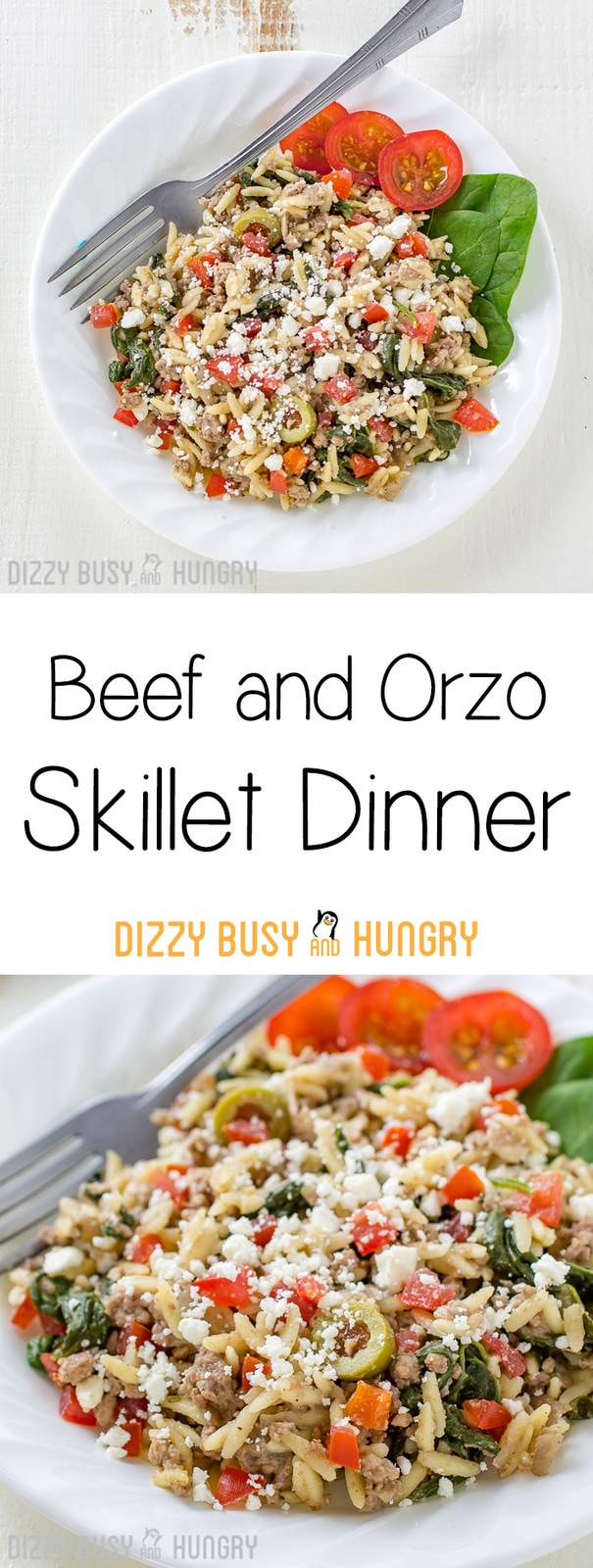 Beef and Orzo Skillet Dinner | DizzyBusyandHungry.com - If you like easy ground beef recipes you can make in one pan, you will love this hearty and delicious Beef and Orzo Skillet Meal!