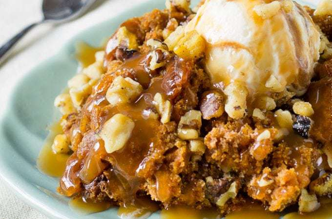 3 Ingredient Crock Pot Pumpkin Cake | DizzyBusyandHungry.com - Sweet treats don't get any easier than this!