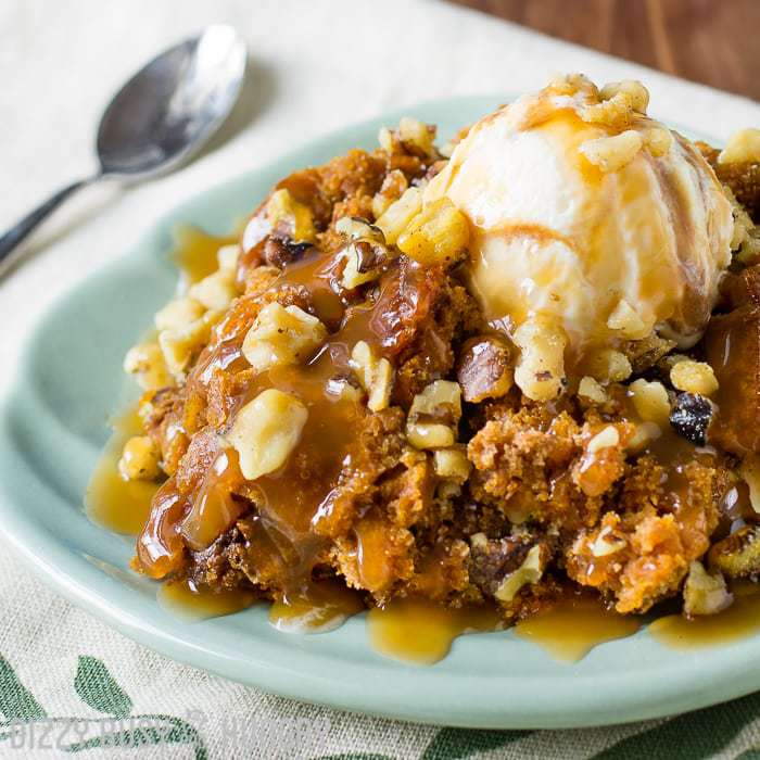 3 Ingredient Crock Pot Pumpkin Cake   DizzyBusyandHungry.com - Sweet treats don't get any easier than this!