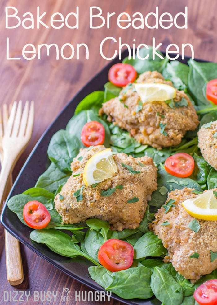 Baked Breaded Lemon Chicken | DizzyBusyandHungry.com - This lip-smackin' good chicken has a bright, lemony flavor and a crispy breadcrumb coating. It's a meal that will have your family clamoring for more!