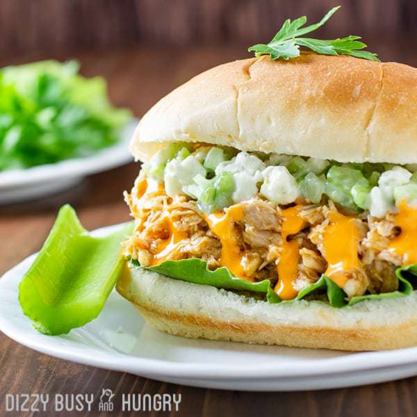 Crock Pot Pulled Buffalo Chicken Sandwiches | DizzyBusyandHungry.com - So easy and tasty, this is one of my favorite chicken recipes, perfect for feeding my family on busy weeknight or a serving a crowd on the weekend!